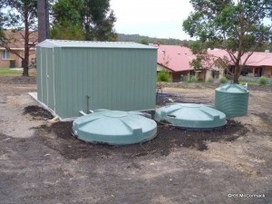 Twin sumps beside the garden/equipment shed
