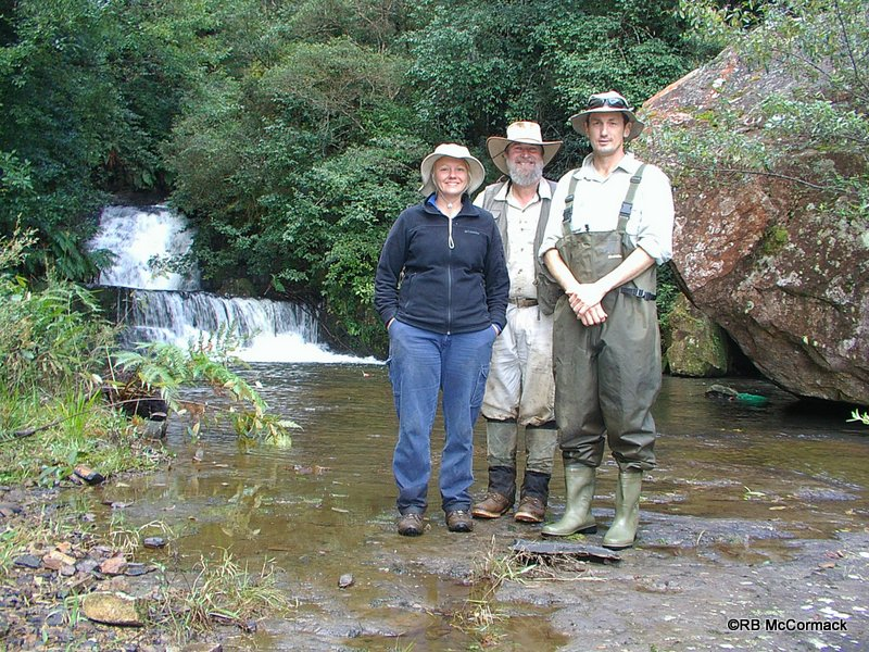 Prue McGuffie, NSW DPI Fisheries (left). Rob McCormack, Australian Aquatic Biological P/L (middle). Justin Stanger, NSW DPI Fisheries (right) on Wildes Meadow Creek below the Falls