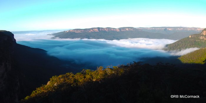 The early morning view from one of the lookouts at Wentworth Falls