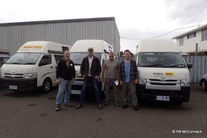 Rob McCormack, Paul Van der Werf, Craig Burnes and Paul Burnes with our campervans